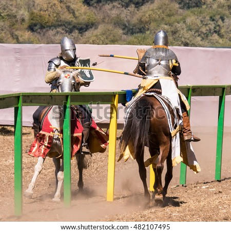 Medieval Knights on Horseback Compete in Jousting Event