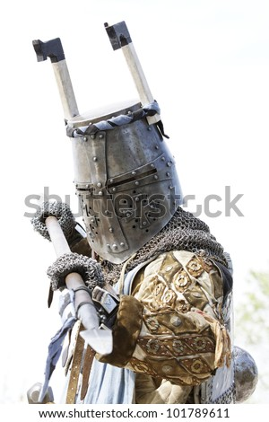 Medieval knights used in battle - stock photo