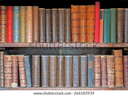 Medieval leather books in two rows closeup  - stock photo