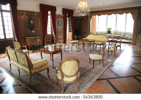 Medieval Living Room And Luxurious Furniture Of Historical Swiss Castle