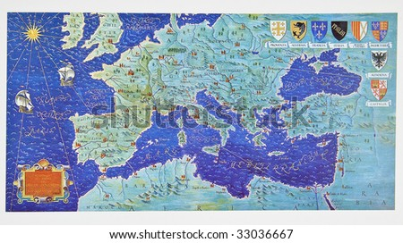 Medieval map of Europe by order of the Knights of Hospitallers. Photo from old reproduction - stock photo