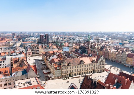 Medieval market square in Wroclaw. View from St. Elisabeth Church tower