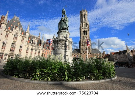 medieval market square of Brugge in Belgium, unesco world heritage