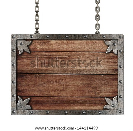 medieval old sign with chains isolated on white - stock photo