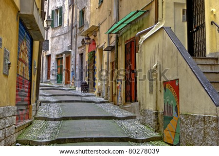 medieval old town of Sanremo, called Pigna, with winding streets - stock photo