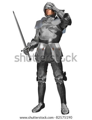 Medieval or Fantasy Knight in decorated armour raising his visor, 3d digitally rendered illustration