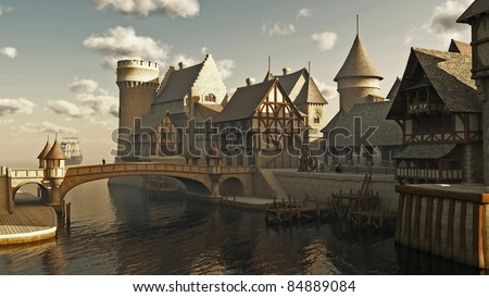 Medieval or fantasy waterside town docks, 3d digitally rendered illustration - stock photo