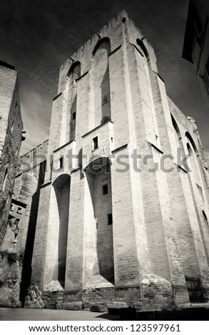 Medieval pope's fortress in Avignon, Provence, southern France - stock photo