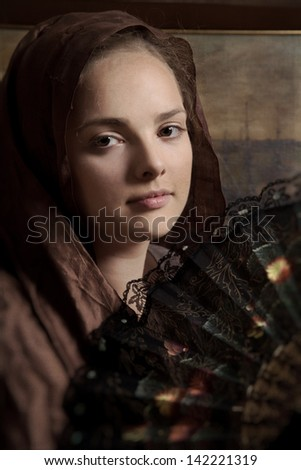 Medieval portrait of a young lady - stock photo