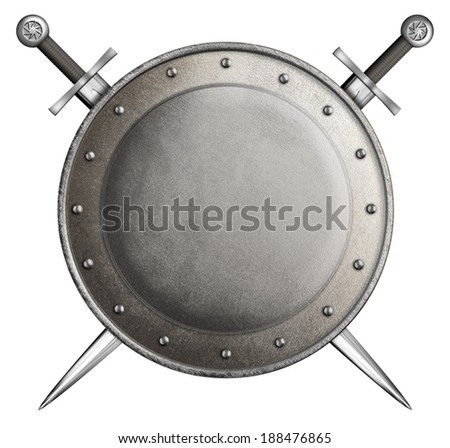 medieval round shield with two swords isolated on white - stock photo