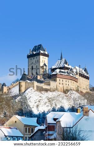 medieval royal gothic castle Karlstejn near Prague, Central Bohemia, Czech republic, Europe - stock photo