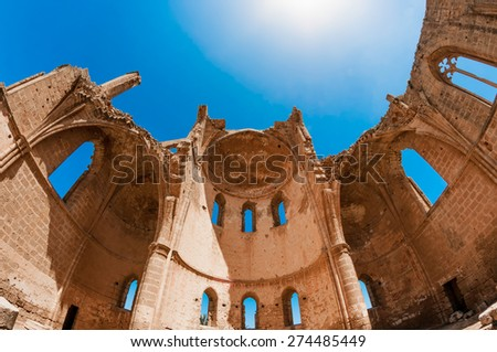 Medieval Ruins of the St. George of the Greeks Church. Famagusta, Cyprus - stock photo