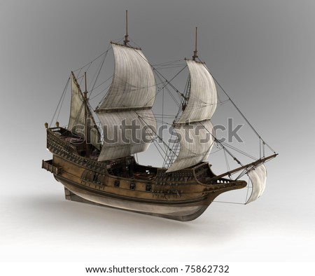 medieval sail ship - stock photo