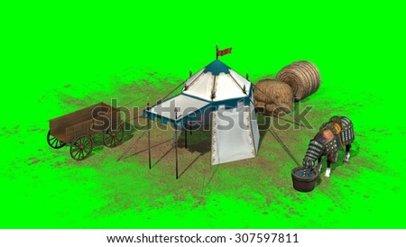 medieval scene with horse - green screen effect  - stock photo