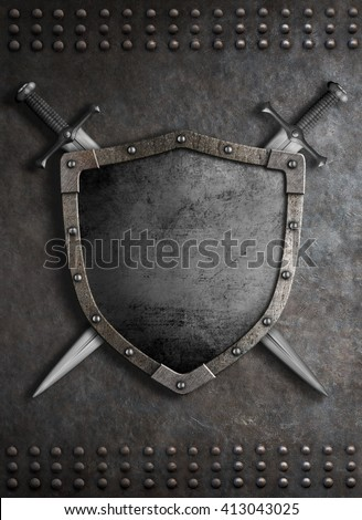 medieval shield with two crossed swords 3d illustration