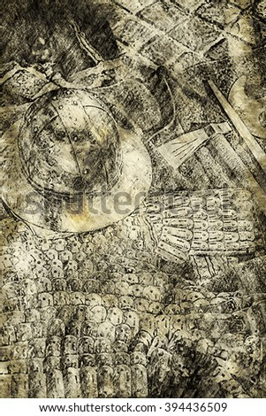 Medieval shields, helm and weapons - Old drawing, digital art work - stock photo