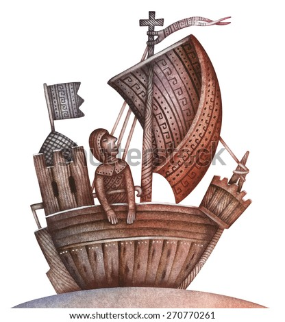 Medieval ship, vintage illustration - stock photo