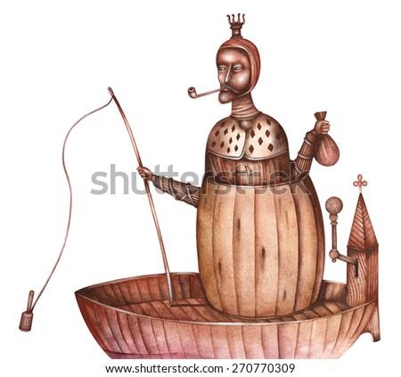 Medieval ship, vintage illustration - stock photo