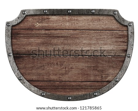 medieval signboard isolated on white - stock photo