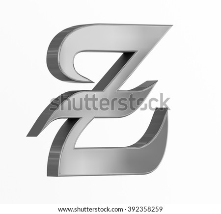 Medieval silver letter Z on white background