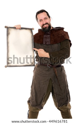 medieval smiling man holding a scroll over white background