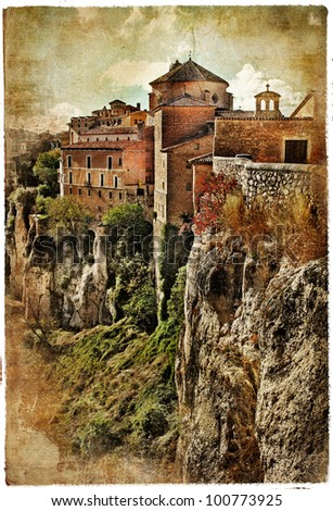 medieval Spain artistic vintage series - Cuenca - stock photo