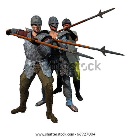 Medieval Spearmen at the ready, 3D render of three armoured soldiers - stock photo