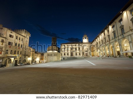 Medieval square in Arezzo (Tuscany, Italy) at night