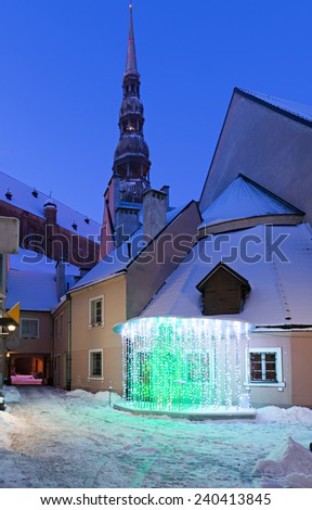 Medieval square in old Riga city on the night of Christmas. In 2014, Riga was the European capital of culture - stock photo