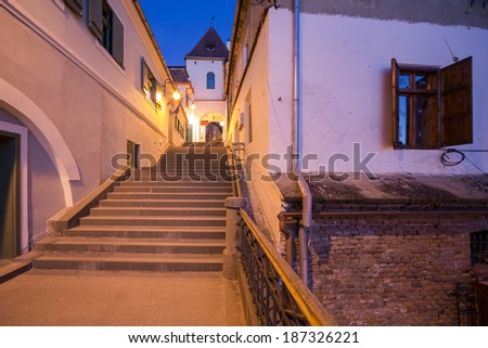 Medieval stairway passage in SIbiu - stock photo