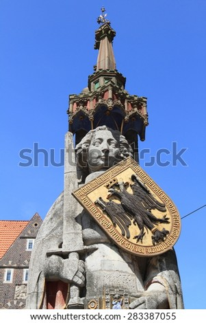 medieval statue of hero Roland in Bremen, Germany, a unesco world heritage - stock photo