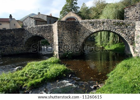 Medieval stone bridge in Saurier, France