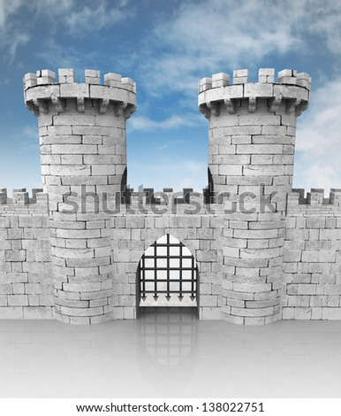 medieval stoned castle gate with towers and sky illustration - stock photo