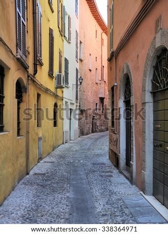 Medieval street in Brescia, Italy. - stock photo