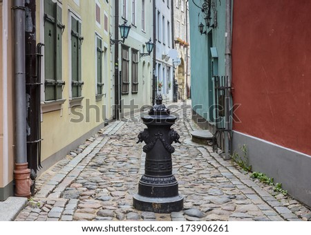 Medieval street in the old Riga city, Latvia. In 2014, Riga is the European capital of culture.
