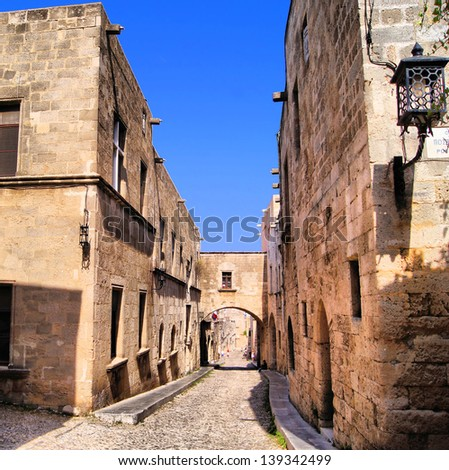 Medieval Street of the Knights, Old Town of Rhodes, Greece