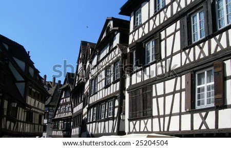Medieval street scape in Strasbourg France - stock photo