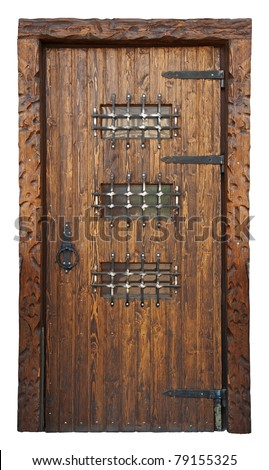 Medieval style door isolated on white - stock photo