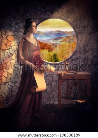 Medieval style female portrait  - stock photo