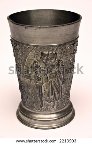 Medieval - style iron cup with engravings / relief