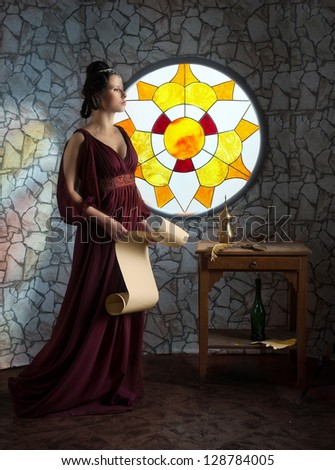 Medieval style portrait of woman in red dress with the scroll in her hands - stock photo