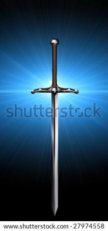 medieval sword - stock photo