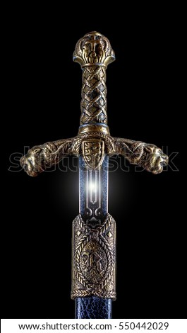 Medieval sword and scabbard
