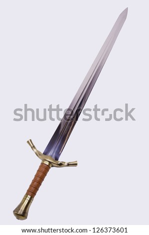 Medieval sword isolated on over white. - stock photo