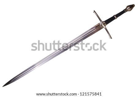 Medieval sword isolated on white background disposed by diagonal - stock photo
