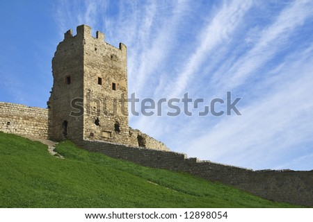 Medieval tower built by the genoeses in Theodosia, Ukraine (with copyspace)