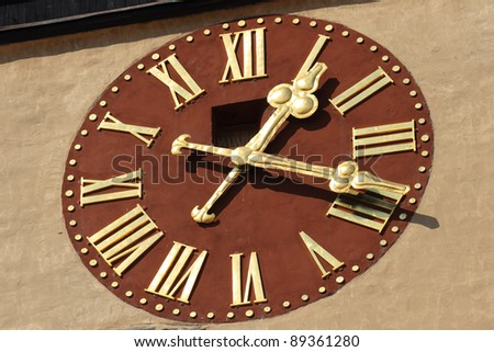 Medieval tower clock Close Up in Znojmo, Czech Republic - stock photo