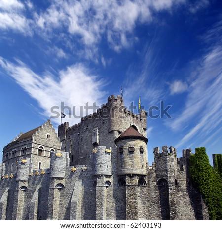 Medieval tower in Gent, Belgium - stock photo