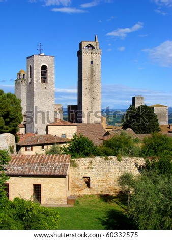 Medieval towers of a Tuscan village, San Gimignano - stock photo