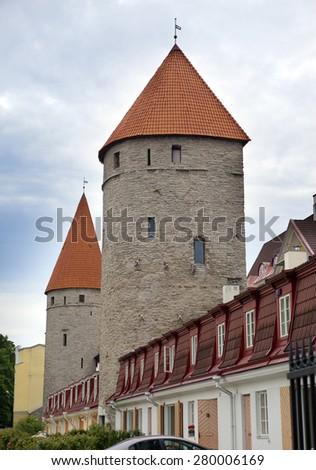 Medieval towers. Tallinn, Estonia - stock photo
